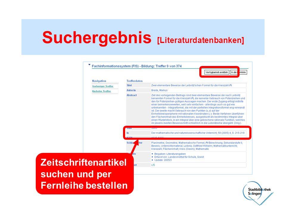 Suchergebnis [Literaturdatenbanken]